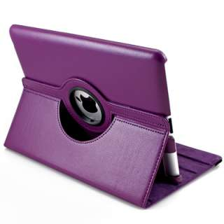 Purple 360 Rotating Swivel Magnetic Smart Leather Stand Cover Case