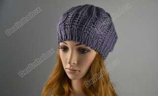 Winter Warm Women Beret Braided Baggy Beanie Crochet Hat Ski Cap