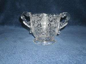 Cambridge Crystal Rose Point Etched Open Sugar Bowl Shape 3400
