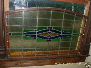 LARGE ANTIQUE STAINED GLASS WINDOW WOOD CASING ARCHED