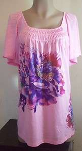 New Womens Ever Blue Plus Size Clothing 1X Pink Shirt Top