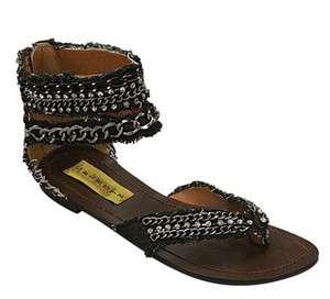 Celeste Dora01 Womens Black Denim Gladiator Flat Sandal   silver