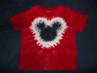 RED TIE DYE MICKEY MOUSE SHIRT TOP GIRL/BOY TDF CUSTOM MADE