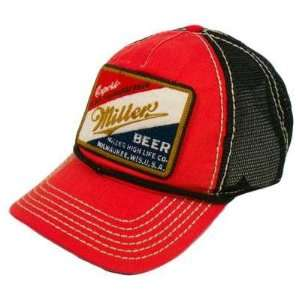 1abd84038c9 MILLER BEER MILWAUKEE PATCH MESH SNAPBACK HAT CAP RED on PopScreen