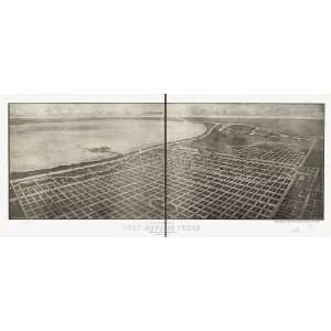 Panoramic Map City and harbor of Port Arthur, Texas birds eye view