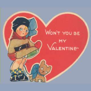VTG Valentine Card 1930s FIGURE WITH DOG Cute Puppy