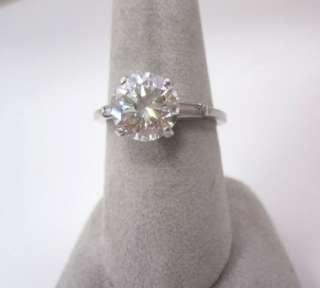 ESTATE SALE 2.83CT LARGE ROUND DIAMOND PLATINUM ENGAGEMENT RING 2.58CT