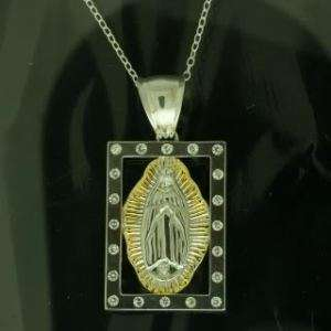 Sterling Silver Religious Pendant, Virgin Mary