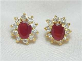 18k 14k gf 6.50cts Gems Set Ruby Necklace Pendant earrings was $4,495