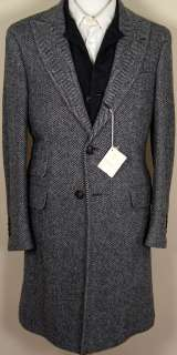 BRUNELLO CUCINELLI COAT $4495 BLACK CASHMERE WITH NAVY VEST TRENCH 38
