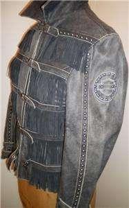 Harley Davidson Leather Jacket Windswept Studded Fringe Size Small