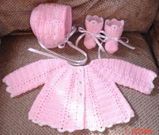 Hand Crocheted BABY SWEATER SET  ANY SIZE OR COLOR  NEW