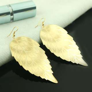 Hot 18K GP Fashion luster earring 52210 gold charm sharp lucky leafs