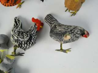 Vintage 1950s Composition Chicken Bird Hen Rooster Figurine Set Toy