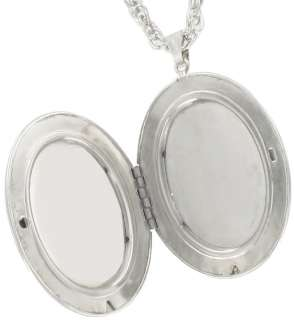 Big Silver Tone Oval Locket Necklace Pendant