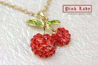 R72 Red Crystal Cherry Charm Necklace (+Gift Box)