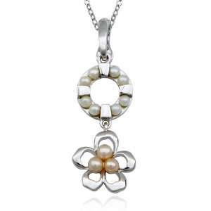 Sterling Silver White and Pink Pearl Circle and Flower Drop Pendant