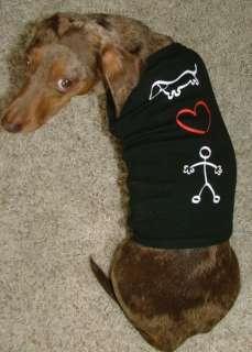 Dachshund Stick Figure Love Dog T Shirt Tank Style S, M, L