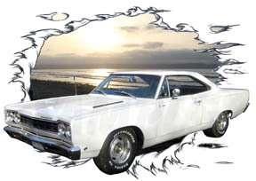 1968 White Plymouth Road Runner Custom Hot Rod Sun Set T Shirt 68