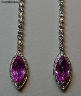 Pink Sapphires Diamonds 18k WG Chandelier Earrings