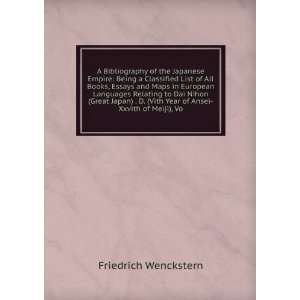 Vith Year of Ansei Xxvith of Meiji), Vo: Friedrich Wenckstern: Books