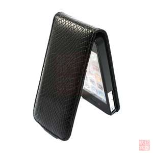 Black Snake PU Leather Case Cover Flip Pouch for Apple iPhone 4S 4G 4