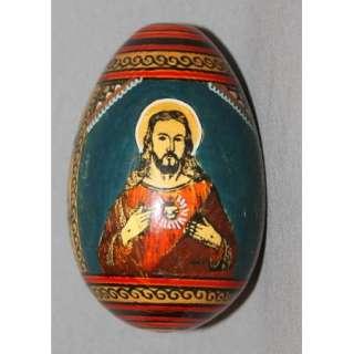 ORTHODOX HAND PAINTED WOOD ICON EGG VIRGIN MARY CHRIST JESUS