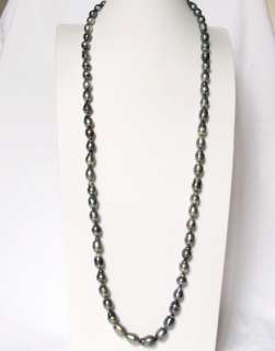 35 INCHES GENUINE NATURAL COLOR TAHITIAN BLACK PEARL NECKLACE   14K WG