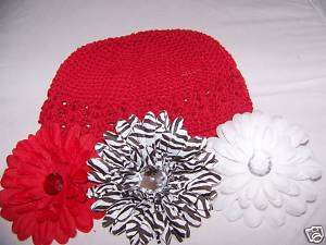 valentines day LOT red white GIRLS kufi HAT zebra daisy