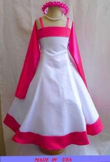NEW WHITE FUCHSIA FLOWER GIRL TODDLER PAGEANT DRESSES