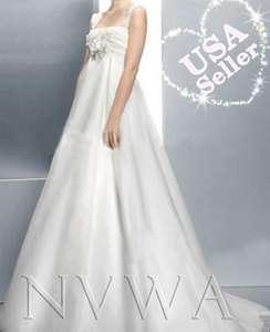 White A line Strap Sweep Train Satin Organza Bridal Gown Wedding Dress