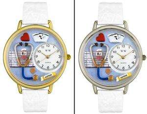 WHIMSICAL 3D Unisex Nurse White Leather Watch   Seiko Stainless