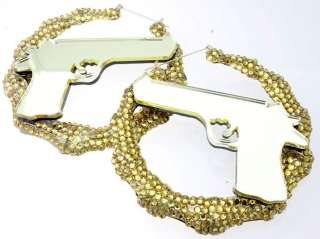 Gun Bamboo Rhinestone Hoop Earrings Rihanna Basketball Wives Poparazzi