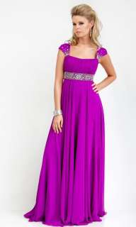 Modest Cap Sleeves Formal Evening Bridesmaid Dress Gown