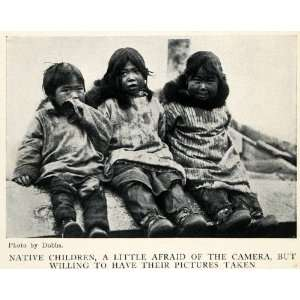 1913 Halftone Print Native Children Alaska Inuit Costume