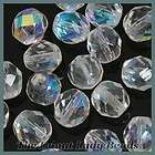 25 Crystal AB Czech Glass Faceted Round Beads 8MM