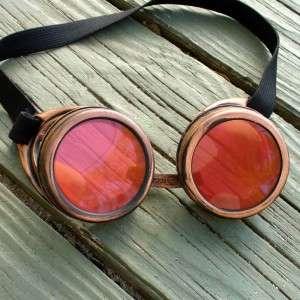 Steampunk Goggles Glasses cyber lens goth D copper red Aviator Biker