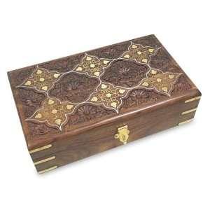 Wood and brass jewelry box, Windows to My Garden