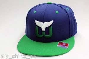 Hartford Whalers Blue Green NHL Mitchell & Ness Fitted Cap NEW
