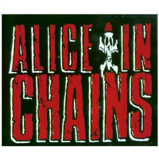 Alice in Chains   Logo on Black Rectangle with Skull & Crossbones