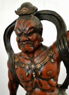Pr. Antique Japanese Meiji Period Carved Wood Lacquer Fierce Guardian