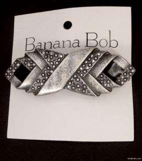 BANANA BOB Vinatge MARCASITE CRYSTAL Silver Ox BLACK ENAMEL BARRETTE