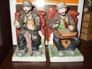 Emmett Kelly Jr From Flambro Clown Bookends With Red Brick Wall