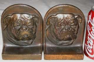CAST IRON BRONZE 3 D BULLDOG BOOKENDS ART STATUE BOOK ENDS HOLDER DOG