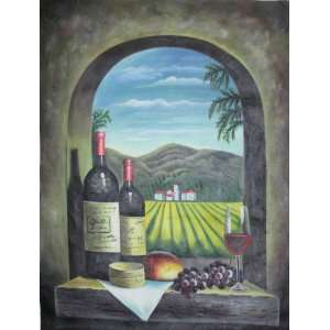 Wine Boles Glass Grapes Large Oil Paining 3x4 Home & Kichen