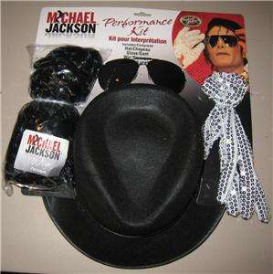 NEW Michael Jackson Hat Wig Glasses Glove Costume Kit