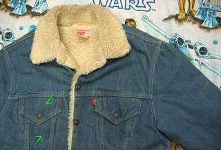 WOW vtg Levis SHERPA LINED 70s BLUE DENIM Jacket M 40 trucker jean