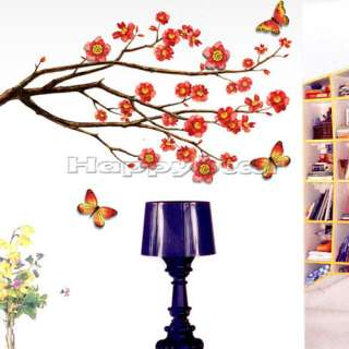 Cherry Blossom Butterflies Wall Decal Stickers