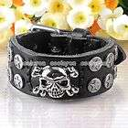 Mens Gothic Punk Black Leather Star Skull Belt Buckle B