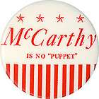 1968 eugene mccarthy is no puppet anti humphrey button one